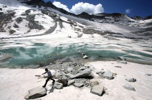 A lake that has formed at the base of the melting Dagu glacier as temperatures rise on the south-east edge of the Tibetan Plateau.