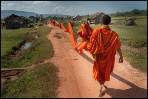 Monks march through Cambodia's Areng Valley to protest deforestation for dam building and illegal felling. (Image by Luc Forsyth)