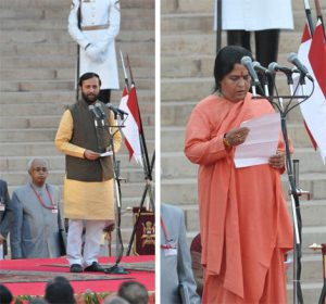 Prakash Javadekar (left) and Uma Bharti (right) take oath as ministers (Images by Press Information Bureau, Government of India)
