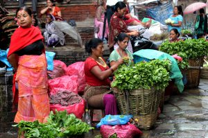 During disasters, poorer women's reproductive health vulnerability increases, while access to services decreases. Women sell vegetables in the Palace forecourt in Kathmandu. Photo Credit: Manipadma Jena