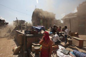 Volunteers clear rubble at the Basantapur Durbar square in Kathmandu. (AFP/Nicolas Asfouri)