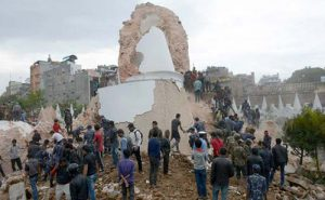 Dharara tower in Kathmandu, which collapsed in Saturday's earthquake (Image by AFP)