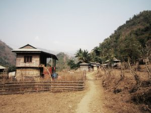 Traditional homes along the path in the village of Triveni, Dhankuta district, Nepal