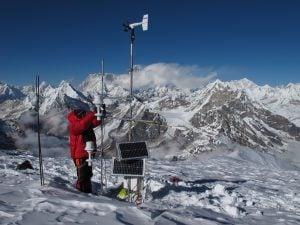 Taking measurements in the Mera Glacier region of the Dudh Kosi basin, Credit: Patrick Wagnon