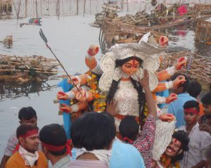 Durja Puja festival on the banks of the Yamuna, one of the rivers granted status of living human entities by the Uttarakhand court (Photo by Juhi Chaudhary)