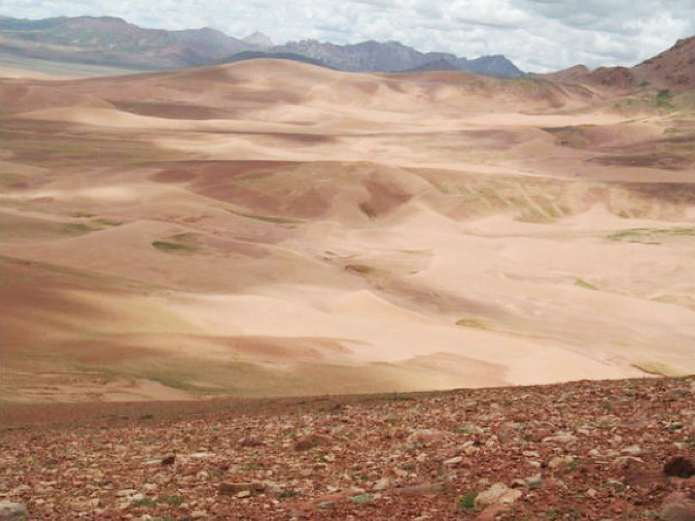Desertification is visible in Yanzhanggua Valley, Yushu prefecture, on the upper reaches of Tongtian River.