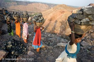 Illegal Pickers at Jharia coal mine, Jharkhand state, one of the largest coal mines in Asia.