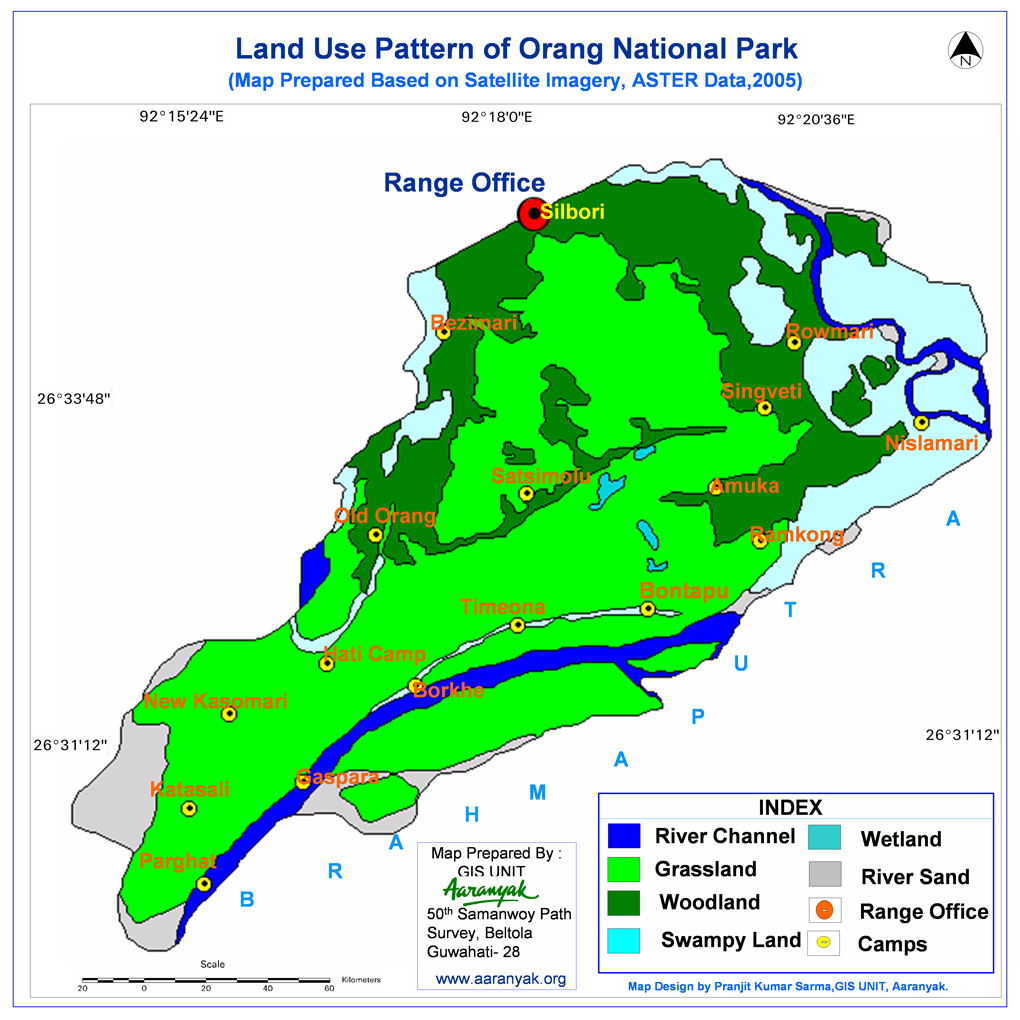 Land use pattern in Orang in 2005 [map prepared by Aaranyak from satellite images]
