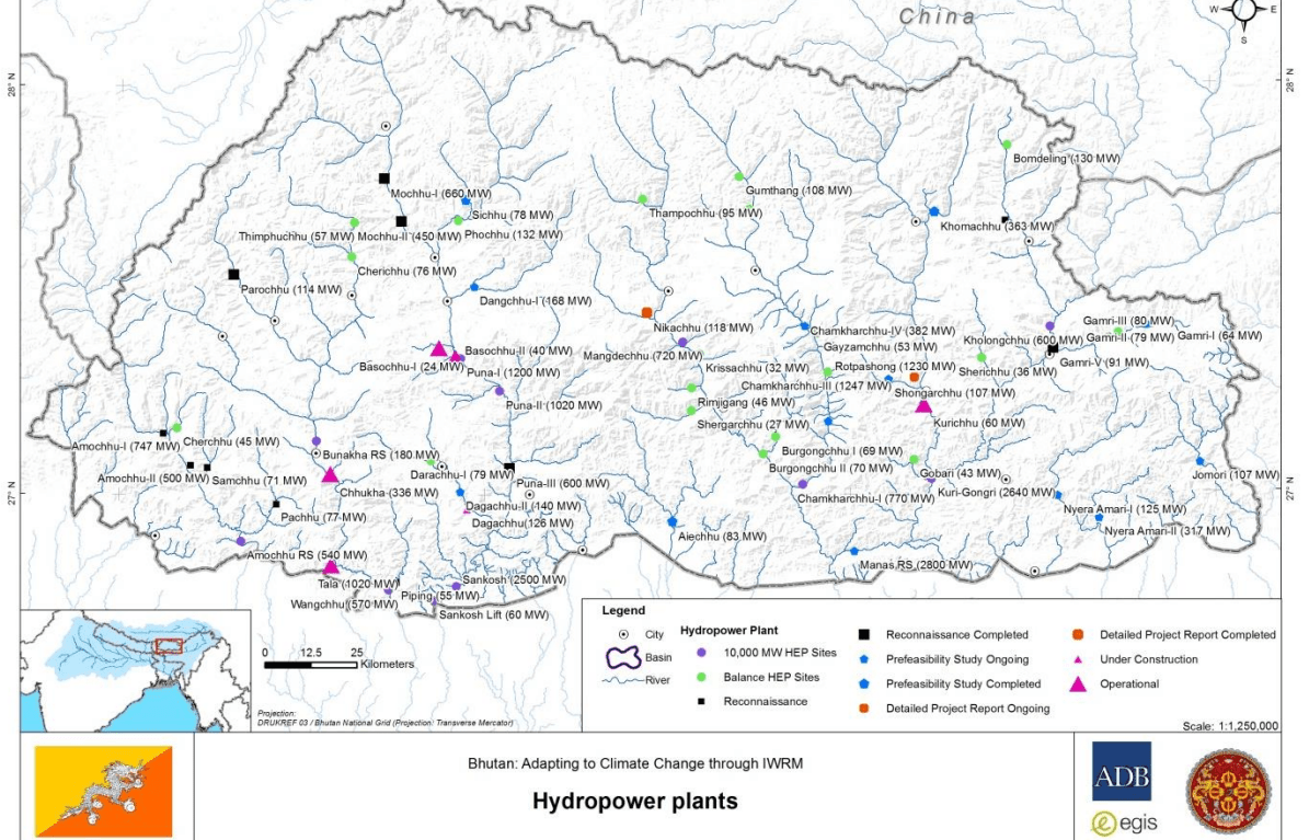 map of hydropower Bhutan: adapting to climate change through IWRM
