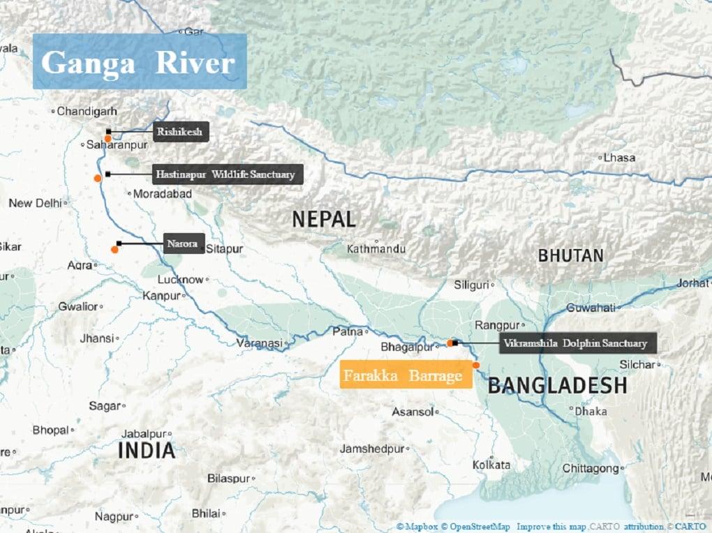 dolphin population map Ganga