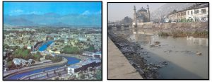 Kabul city before the decades of conflict on the left, and now, on the right [image courtesy Naim Eqrar]