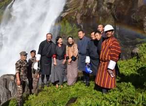 Druk Green Power Corporation team at the Takti waterfall near Chukha project [image courtesy Chhewang Rinzin]