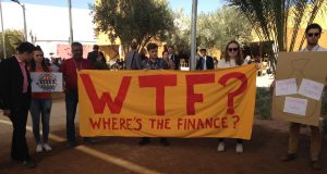At the UN climate summit in Marrakech, Morocco, activists protest about the lack of finance from rich to poor nations to help cope with climate change (Photo: Joydeep Gupta)