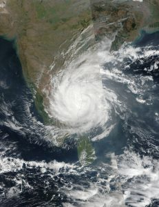 A picture of cyclone Vardah captured by NASA