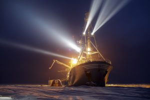Research vessel Lance was frozen into the sea in January 2015, and researchers stayed on to study climate change (credit: Norwegian Embassy).