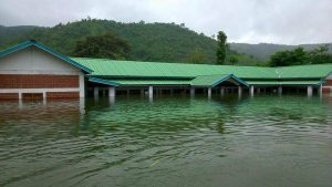 A school submerged due to the Mapithel dam [image from Stop Mapithel Dam Facebook page]