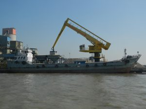 A lighterage vessel on the Pashur [image by Sharif Jamil]