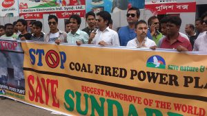 environmental activists in Bangladesh protesting against coal-based power plants
