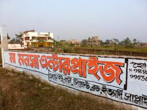 An advertisement for building material in the backdrop of new residences coming up in the Kolkata wetlands [image by Soumya Sarkar]