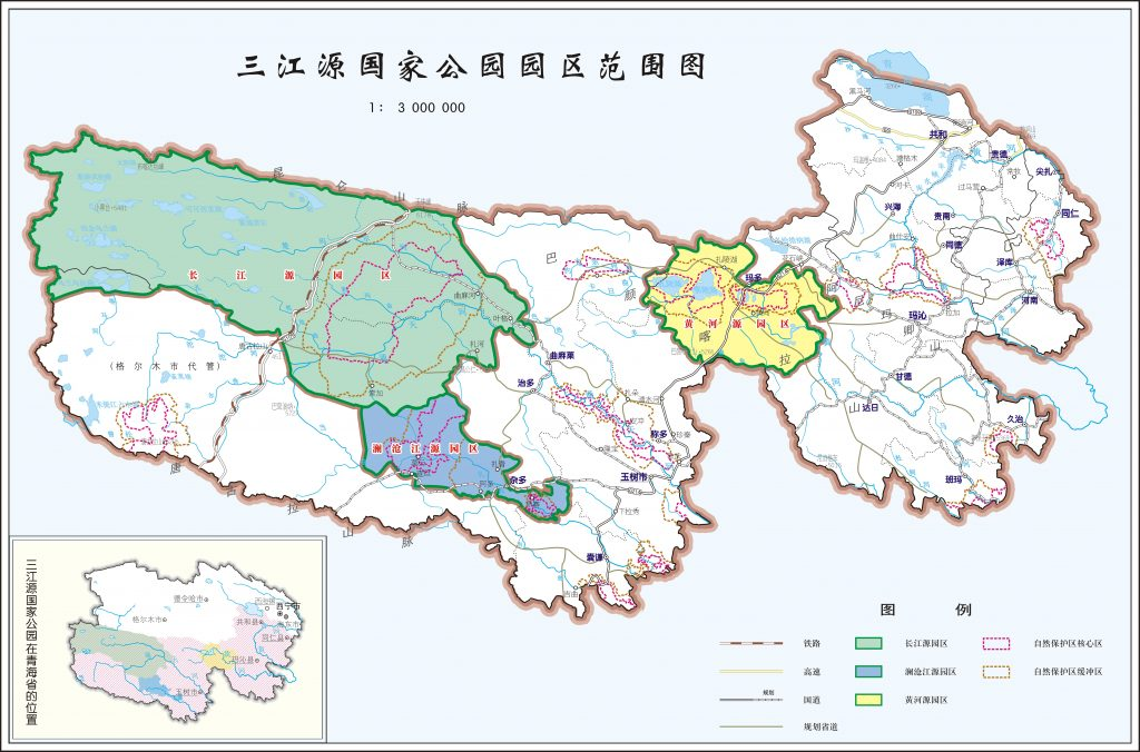A map of Sanjiangyuan three river national nature reserve