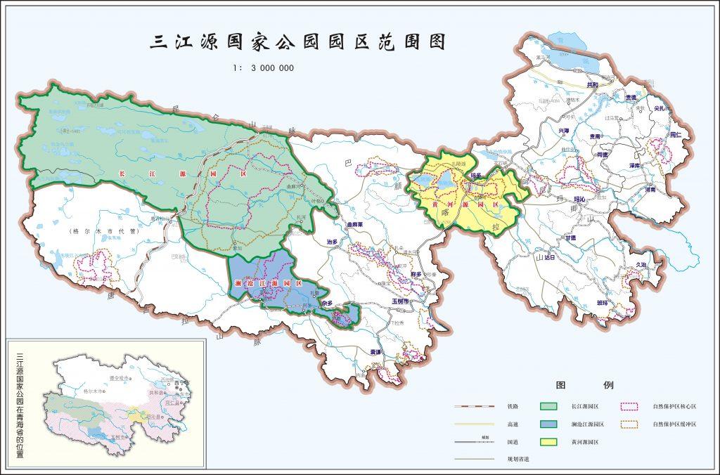 A map of Sanjiangyuan three river national nature reserve