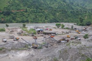 Crusher industry on the bank of Trishuli river