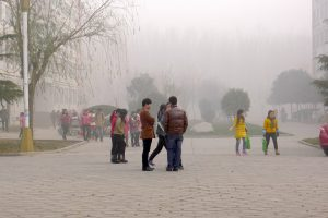Air pollution in a city university in Henan province, China. (Photo by V.T. Polywoda)