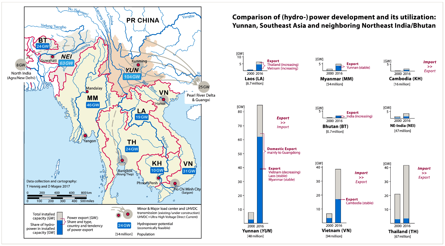 map of hydropower development and its utilisation: Yunnan, Southeast Asia and neighbouring Northeast India