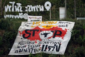 anti-dam protest banned Mekong River