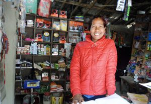 CEO Mina Mahato in her shop in Pratapur, Kailali district, Nepal [image from: Ashden]