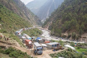 Trucks queing up in Timure, three kilometres from Nepal Tibet border to get clearance from Nepal's security force [image by Nabin Baral]