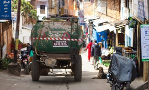 Private water tanker operators supply water to households to fill the gap left by the public distribution system [image by: Abhaya Raj Joshi]