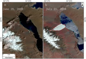 Images of Dongru glacier in central Tibet before and after the collapse on July 17 2016. (Image courtesy: Tian Lide, ITPR)