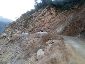 Massive landslides are a regular phenomenon in these fragile mountains, experts believe that unplanned widening of road will trigger more landslides [image by: Hridayesh Joshi]
