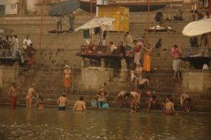 Bathing at the ghat in Varanasi [image by: Honza Soukup]