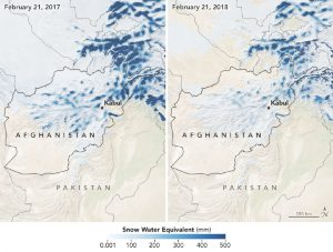 Afghanistan map of snow water equivalent