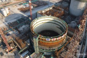 The Qinshan nuclear power plant under construction in Haiyan, Zhejiang province. A 2020 target of 58 GW of installed nuclear capacity now looks out of reach.(Image by baike)