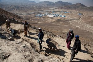 The Chinese state owned mining company MCC have built a camp at Mes Ainak, 35km south of Kabul, while archeologists are racing to excavate a series of ancient Buddhist monasteries before the bulldozers roll in.  (Image: Jerome Starkey)