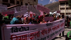 Women protestors outside the District Administration headquarters at Keylong in Lahaul [image by: Kesang Thakur]