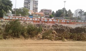 An ambitious ghat beautification plan is underway, but the Ganga has disappeared [image by: Mohd Imran Khan]