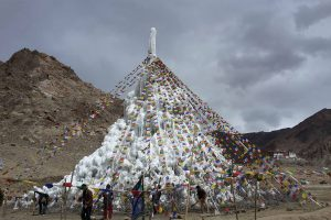 Ice stupas provide essential water in the  during the spring for irrigation in an area where snow and rainfall is decreasing (Image: Ice Stupa Artificial Glacier Project)