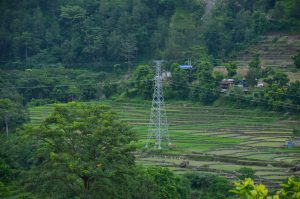 Chinese implemented 132 kV Bhulbhule Mid-Marsyangdi high voltage transmission line in Lamjung district, Nepal, July 2018 [image courtesy: The Accountability Counsel]