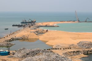 Port City construction site. The project is a key part of China's Belt and Road initiative, but there are growing concerns about its environmental impacts (Image: Dhammika Heenpella)t