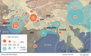 Extent and impact of flood disasters in river basins originating in the Hindu Kush Himalayan region from 2010-14 (Source: EM-DAT/CRED www.emdat.be/)