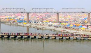The tent city at the confluence of the Ganga and Yamuna