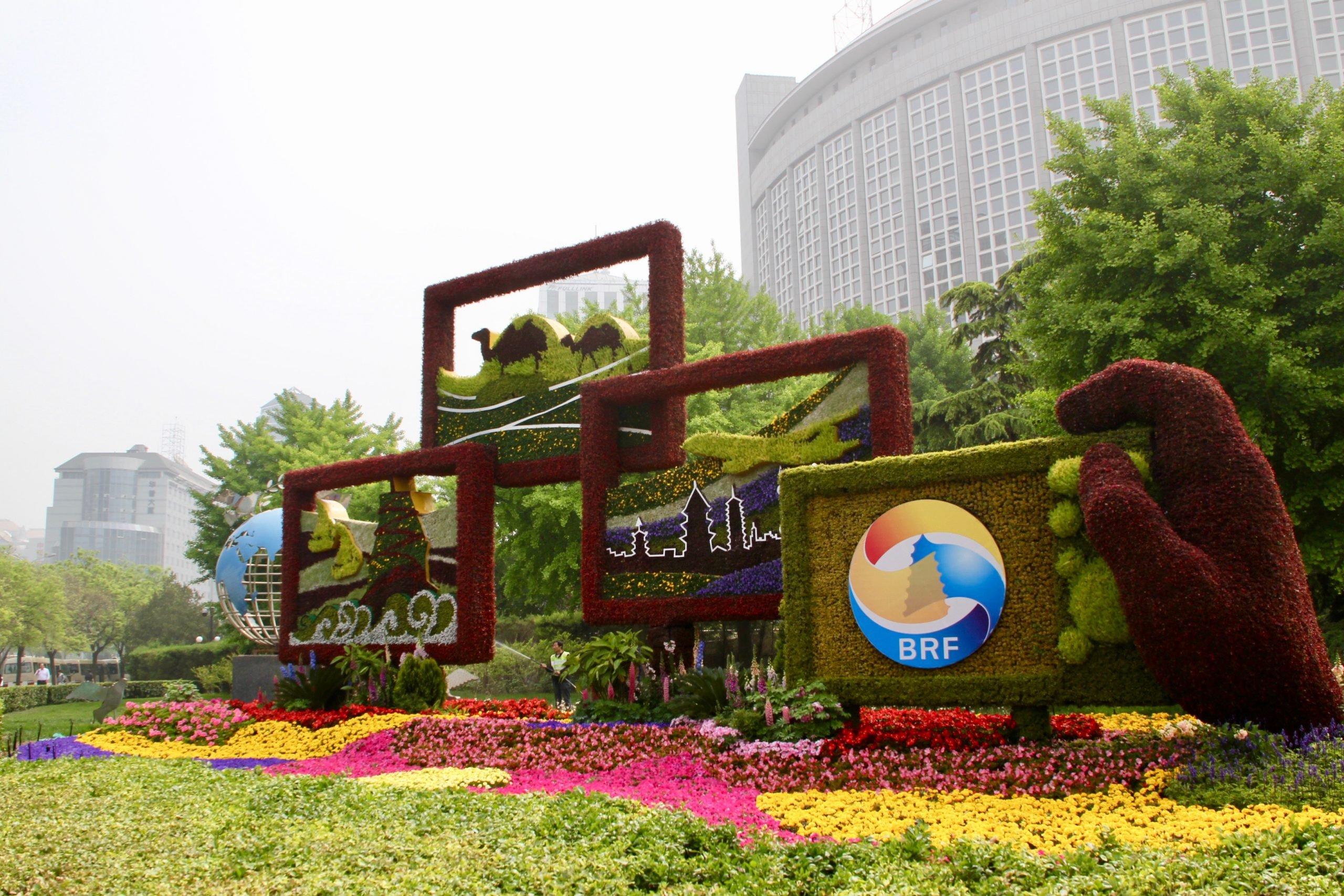 Giant sculptures herald the  BRI forum in Beijing (Image: Lili Pike)