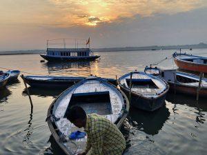 The sun rises over the Ganga at Assi Ghat, Varanasi [all photos by: Joydeep Gupta]