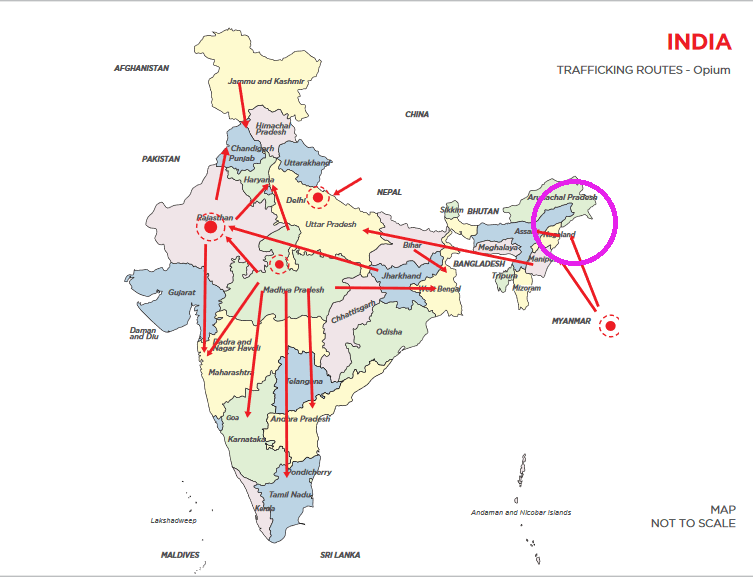 map of india opium trafficking routes