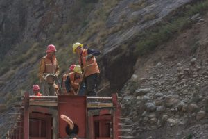Chinese workers constructing a bridge at Rasuwa Gadhi on the Nepal-China border, along the proposed railway between the two countries [image by: Nabin Baral].