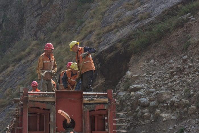 Chinese workers constructing a railway bridge at Rasuwa Gadhi on the Nepal-China border